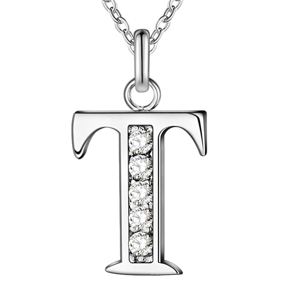 Delightful New Special Wholesale AN226 High Quality Silver Plated Shiny Crystal CZ  Letter T Necklace Classic Fashion