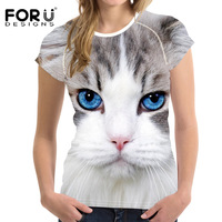 FORUDESIGNS Fashion Pet Cat Printing Summer T Shirt Women Casual 3D Print Short Sleeve T Shirts