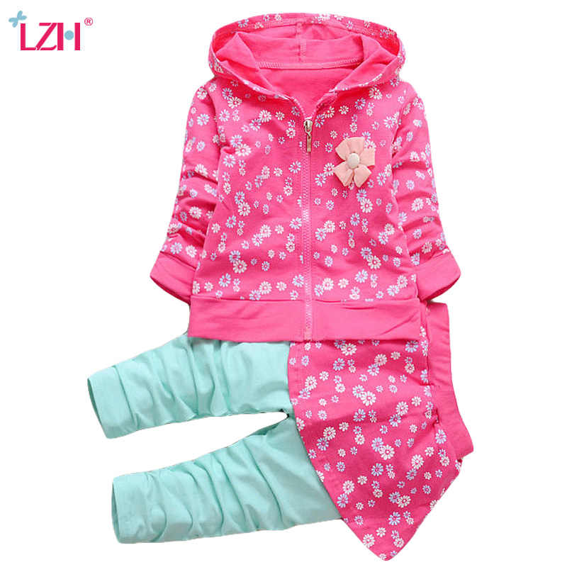 LZH Newborn Clothes 2018 Autumn Winter Baby Girls Clothes Set Coat+Pants 2pcs Warm Baby Outfits Suit Infant Baby Girls Clothing 2018 summer baby girls clothing flower tops and tutu skirts 2pcs baby set newborn baby girl clothes infant girls sport suit