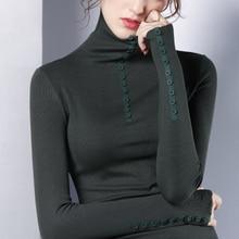 womens top Gauze long sleeve Turtleneck t shirt all match tee black white green brown women bts-1