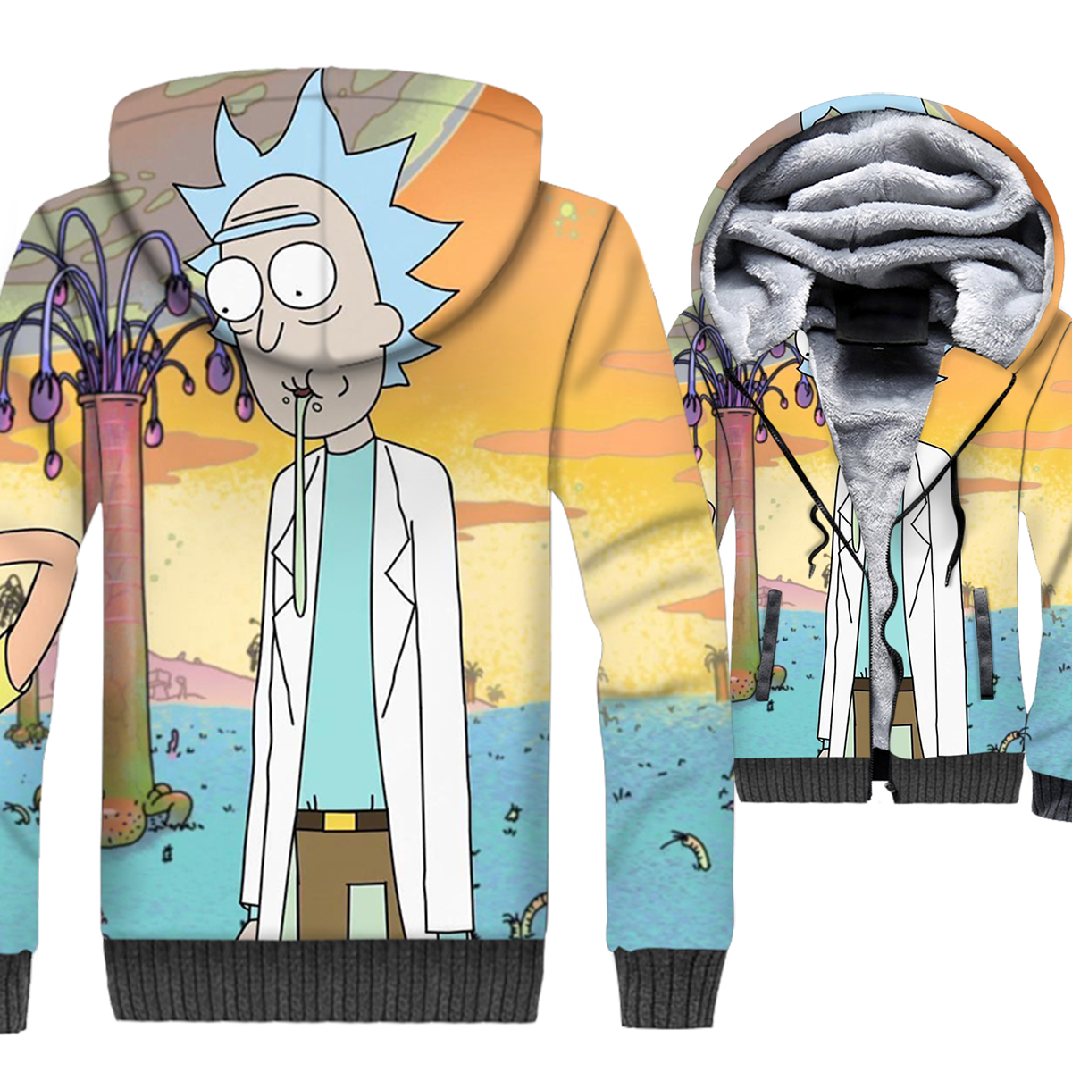 2018 New Arrival Men 39 s Sweatshirts For Autumn Winter Fleece Coats RICK AND MORTY 3D Printed Clothing Hip Hop Hoodies For Men Top in Hoodies amp Sweatshirts from Men 39 s Clothing