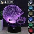 Hy 14 equipos de fútbol 3d casco de la lámpara de control remoto 7 colores Que Cambian de Escritorio Mesa de Noche Luces LED Decoración Del Hogar regalos