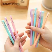 Jonvon Satone 12pcs pen Stationery Korean Creative Candy Color Pen Office Student Jelly Gel Pen school stationery canetas kawai недорого
