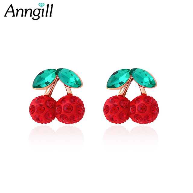 Trendy Cute Cherry Non Pierced Earrings S Kids Jewelry Crystal Clip On No Hole Without