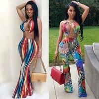 Rompers Women Jumpsuit Beach Sassy Print Women Bodysuit Sleeveless Wide Leg Pants Overalls LD8054