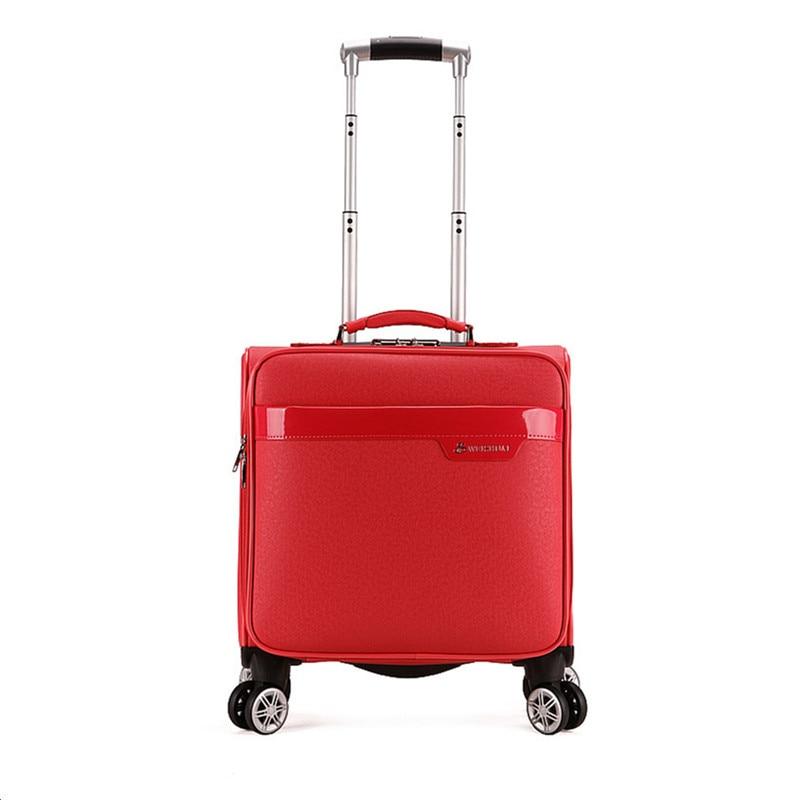 18 fashion trolley luggage women's universal wheels red small luggage travel bag male PU box,fashion travel luggage bag on wheel