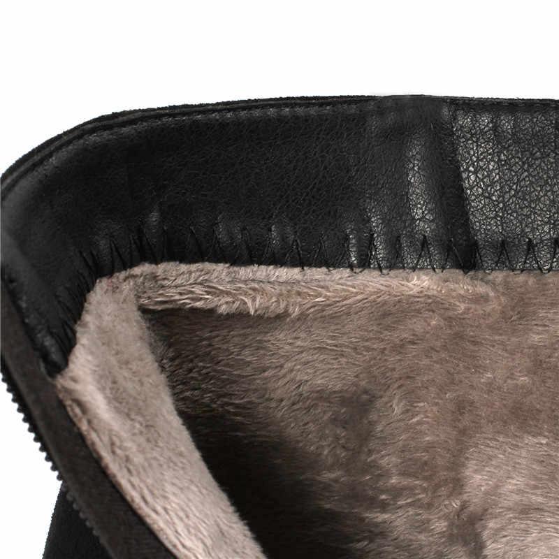 Новая женская обувь ботильоны на высоком каблуке без шнуровки зимние эластичные носки элегантная обувь на высоком квадратном каблуке Женская обувь, большие размеры 32-44
