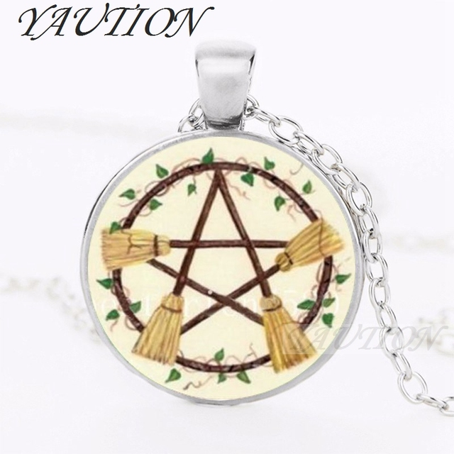 Yaution wicca broom pentagram necklace pentacle pendant wiccan witch yaution wicca broom pentagram necklace pentacle pendant wiccan witch jewelry glass cabochon silver statement long chain aloadofball Gallery