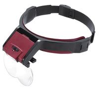 Headband Magnifier With 4 Replaceable lens Detachable LED Light Illuminated Magnifier 3.5X Eye Glass Magnifying Loupe Headlamp