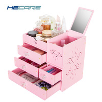 New Design Plastic/PVC Washable Make Up Organizer Pink White Storage Box for Cosmetics Jewelry Toy Home Desk Cosmetic Case Large
