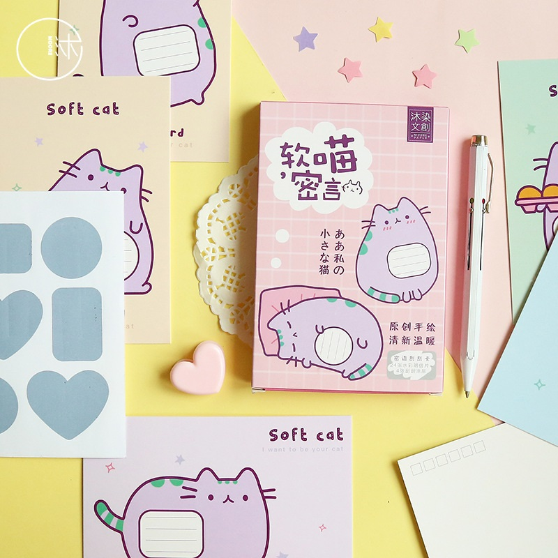 24 Sheets/Set Cartoon Soft Cat Postcards Greeting Card Birthday Letter Gift Card Message Card