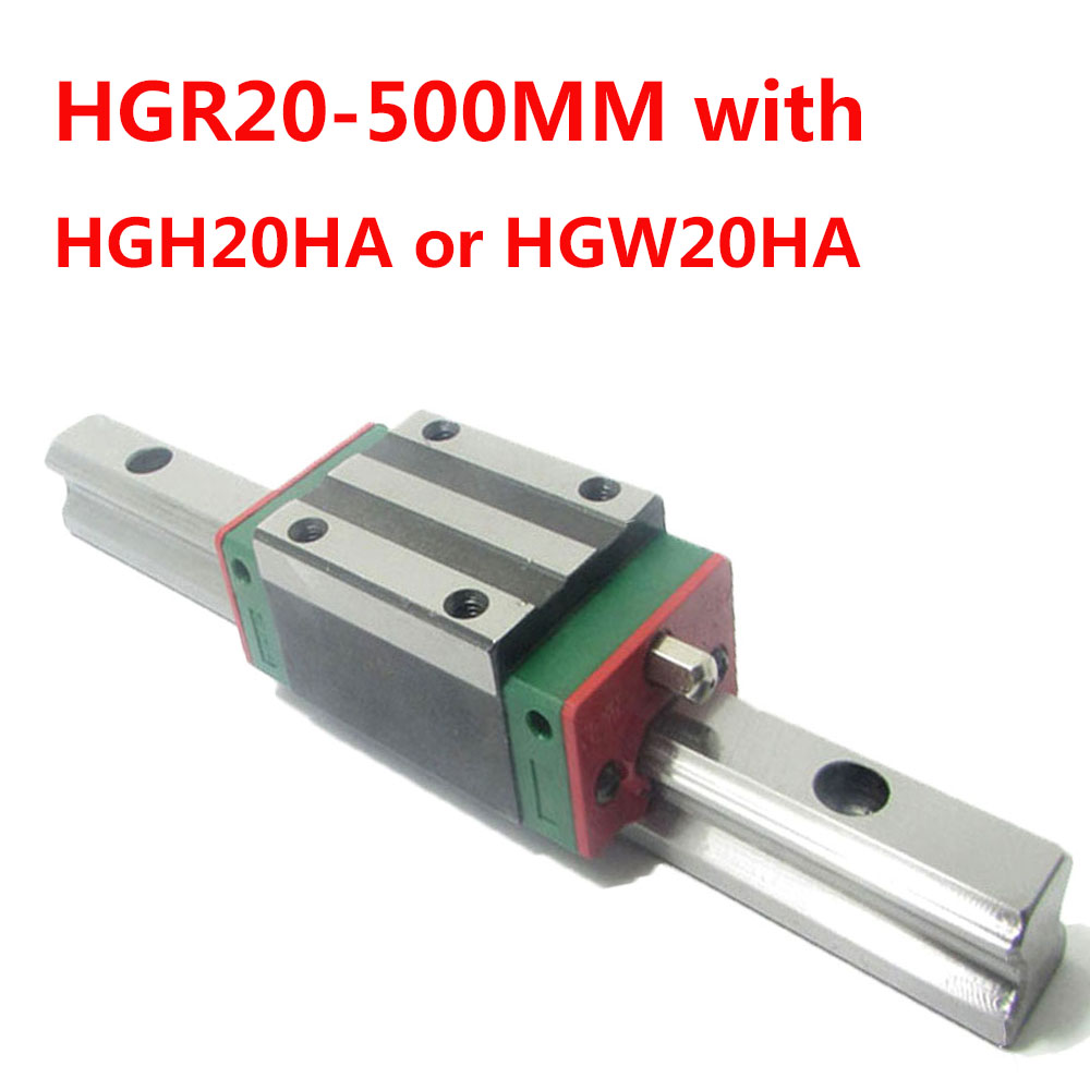 1PC HGR20 Linear Guide Width 20MM Length 500MM with 1PC HGH20HA or HGW20HA Slider for cnc xyz axis large format printer spare parts wit color mutoh lecai locor xenons block slider qeh20ca linear guide slider 1pc