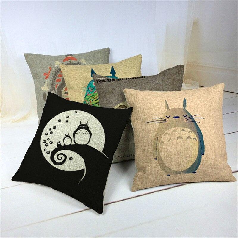 Cartoon Style Fashion Decorative Cushion Cover Cute Totoro Printed Throw Pillow Cover Car Home Decorative Cojines 45x45cm