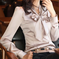 New Plus size 4XL 5XL Women Chiffon Blouse Bow Collar Long sleeved Work Solid Shirts Fashion slim Elegant Blouse Tops 0.281