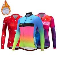 Women Winter Cycling Jersey Fleece Maillot Ciclismo Mujer Long Sleeve Road Bike Clothing Mtb Jersey Thermal Cycling Jacket Women