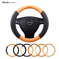 Karcle High Quality 38CM Steering-wheel Covers Contrast Color PU Leather Steering Wheel Cover Anti-slip Car-styling Accessories