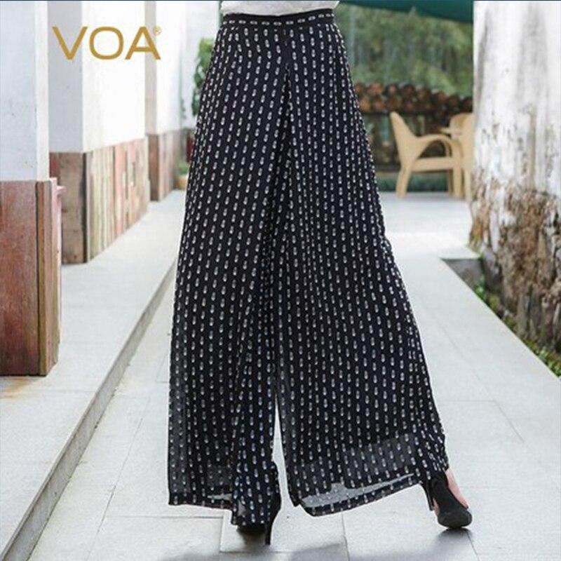 Boho Femmes Vague Point Large Soie Noir Taille K5530 Palazzo Mi Décontracté En Printemps Loisirs Grande Lâche Bas Voa Pantalon 8nOvwmN0