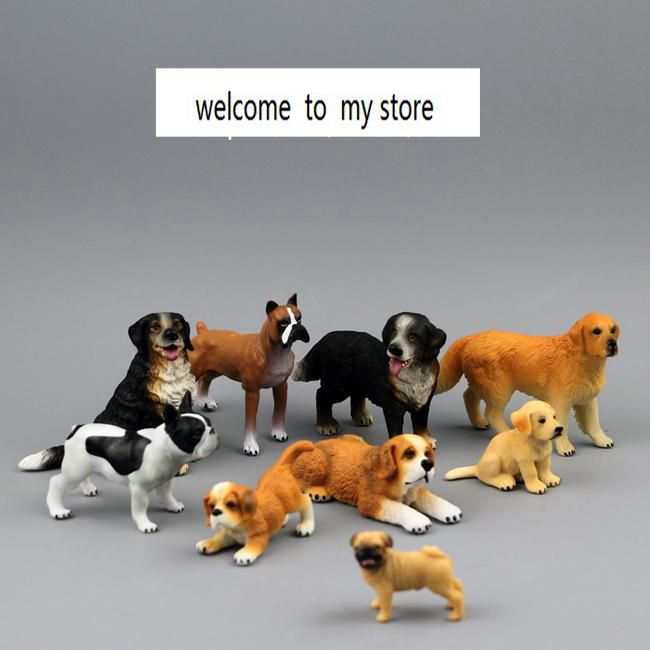 solid pvc figure model toy gift 9pcs/set Animal Simulation Model French Bulldog Retriever St. Bernard dog boxer dogs pvc figure the simulation model toy decoration tr ibe doll ornaments 9pcs set