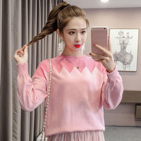 Casual Patchwork Lantern Sleeve Knitted Sweater Women Loose O neck Pullovers Autumn Woolen Winter Jumper Female Long Sweaters