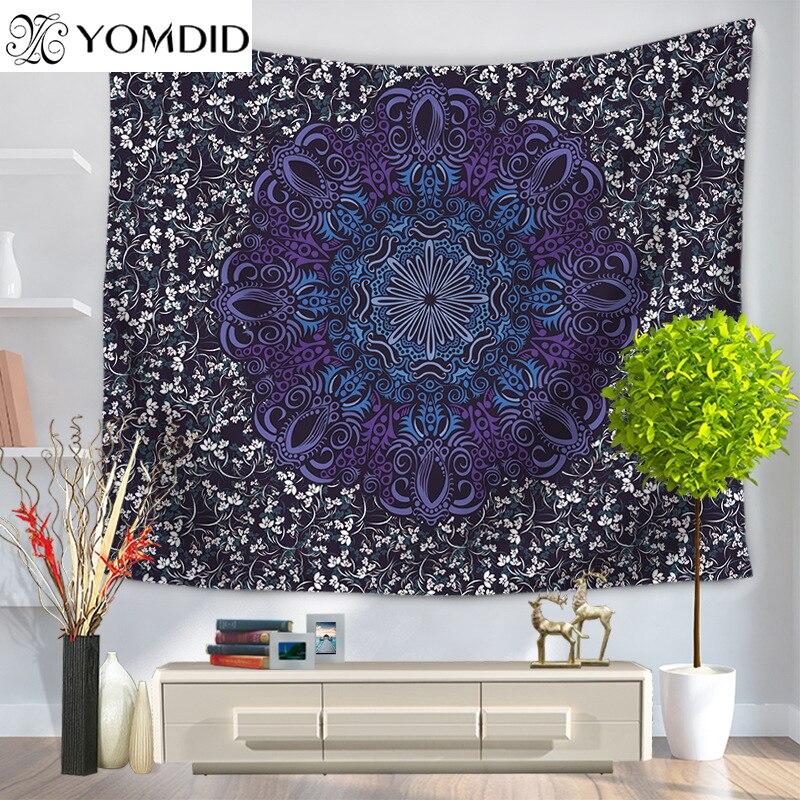 Datura flowers Tapestry Mandala Printed wall hanging Tapestries Boho Wall Carpet LivingRoom Blanket table cloth yoga mat