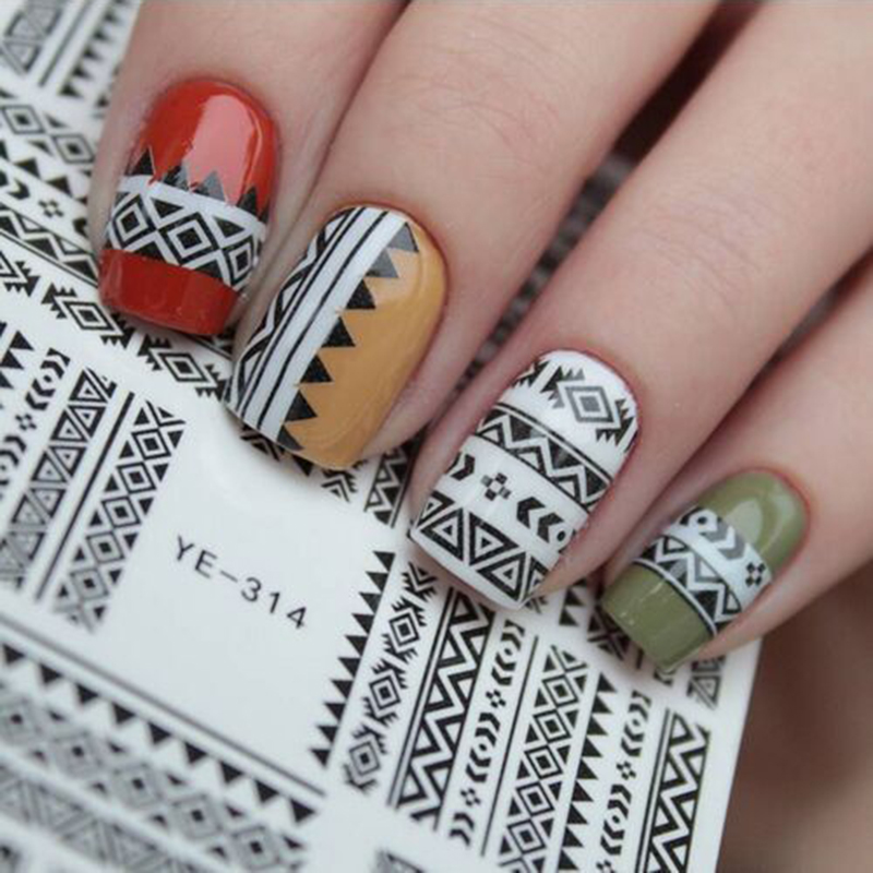 1 Pc Tribal Geo Pattern Nail Water Decals Black Grid Transfer Art Stickers Ye 314 Diy Decorations 21576 In From Beauty
