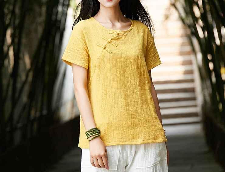 夏 3 色赤/黄色の女性半袖コットン & リネン禅修道女レイ瞑想制服太極拳スーツ武道シャツ