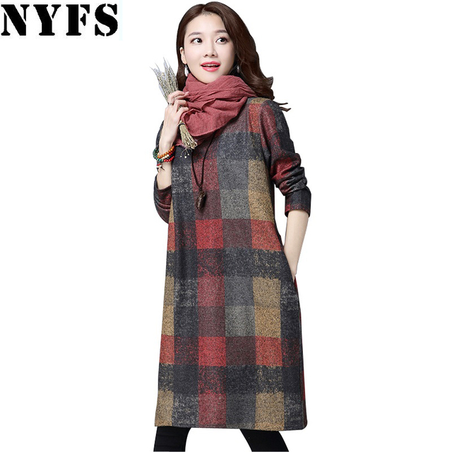NYFS 2018 Autumn Winter Women dress Elegant Thick warm Long sleeve Cotton Loose Dress Vestidos Robe Elbise