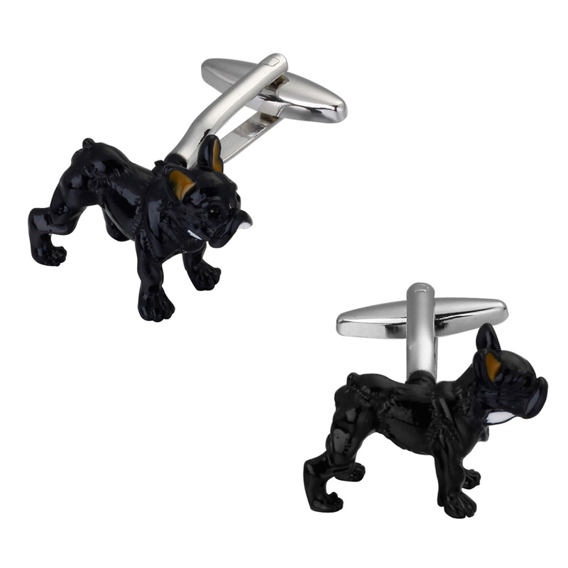 fashion Mens shirts Cufflinks high-quality copper material Funny dog black dog Cufflinks 2 pairs of packaging for sale