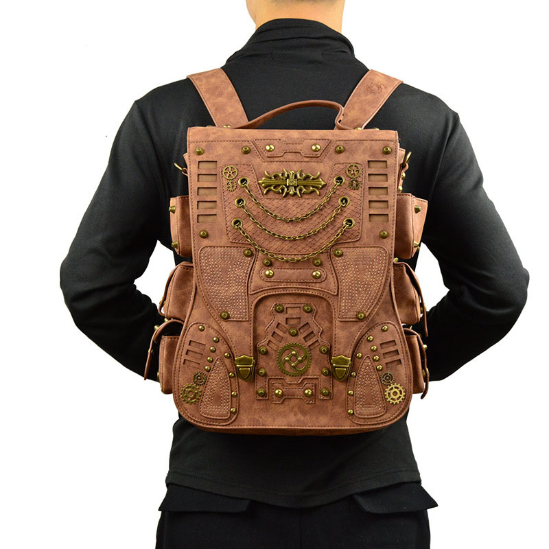 2018 New Fashion Retro Men Rivet Stylish Punk Backpack Gothic Personality PU Leather Travel Bag Men Steam Punk Brown Backpack fashion punk style multilayer pu leather bracelet brown silver