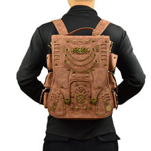 2019 New Fashion Retro Men Rivet Stylish Punk Backpack Gothic Personality PU Leather Travel Bag Men Steam Punk Brown Backpack(China)