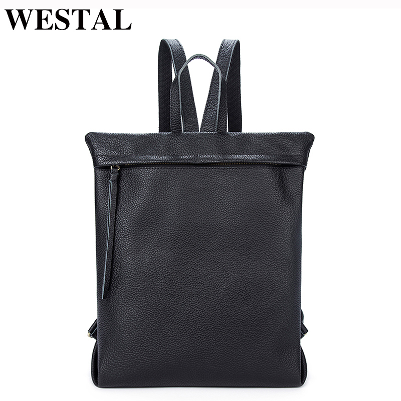 WESTAL Women Backpacks for girls teenagers SchoolBags Genuine Leather Backpack Female bagpack Laptop Backpack female leather