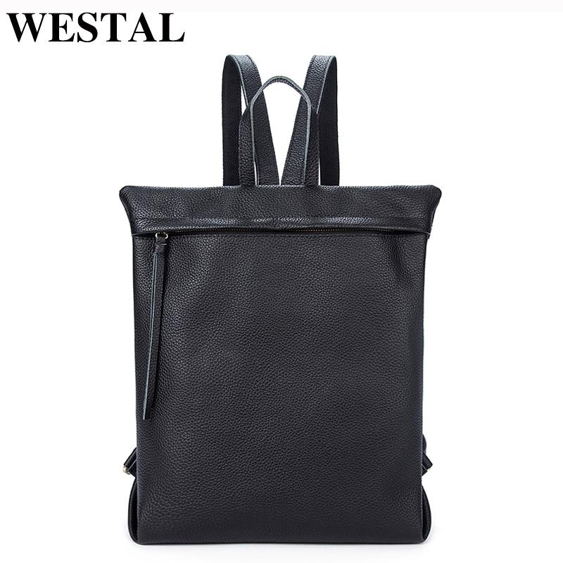 Westal نساء حقائب للبنات المراهقين bagpack محمول حقيبة مدرسية جلد طبيعي الإناث الإناث-في حقائب الظهر من حقائب وأمتعة على  مجموعة 1