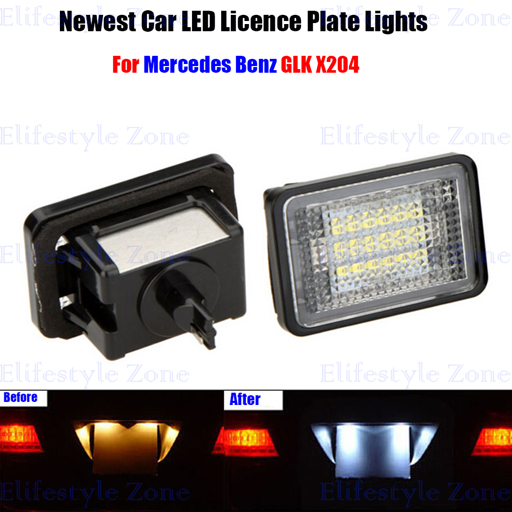2 x LED Number License Plate Lamps OBC Error Free 18 LED For Mercedes Benz GLK 204 led waterproof number white license plate light lamps obc error free 18 led for bmw x3 e83 x5 e53