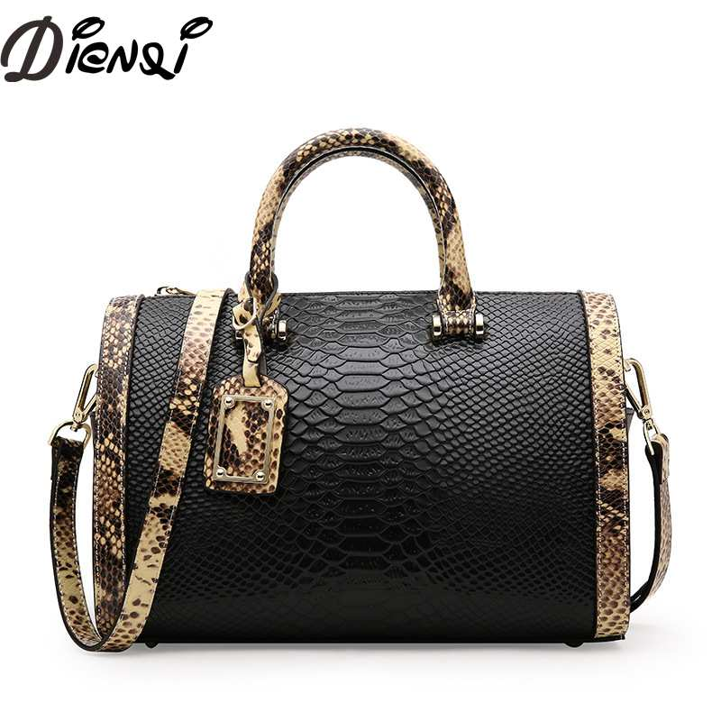 DIENQI Women Handbag 2018 New Designed Alligator Genuine Leather Crossbody Bags Tote Large Capacity Shoulder Bag Bolsa Feminina shengdilu brand 2018 new women handbag genuine leather tote shoulder bag alligator top grade bolsa feminina free shipping