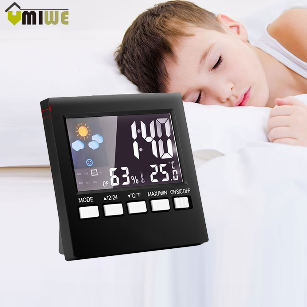 Digital Weather Forecast Station Alarm Clock Kids LCD Screen Temperature Humidity Backlight Monitor Snooze Function Alarm Clocks