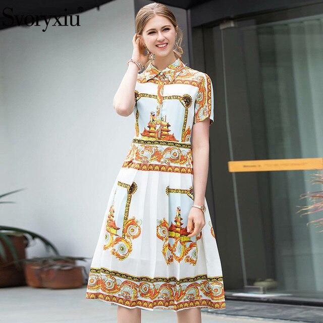 278e944e3ba299 Svoryxiu Mode Designer Sommer Falten Kleid frauen Hohe Qualität Kurzarm  Vintage-Muster Drucken Party Kleider Vestidos