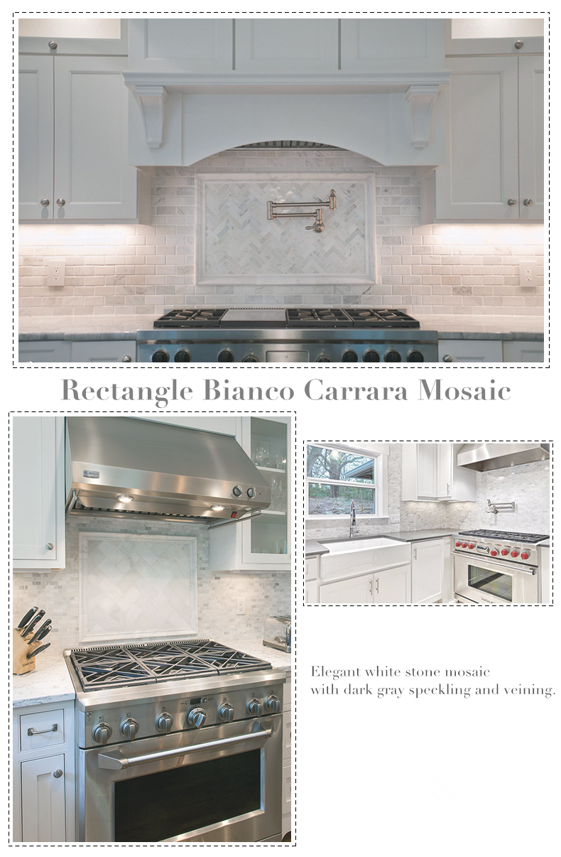 Carrara White Gray Marble mosaic tiles backsplash kitchen TV bath ...