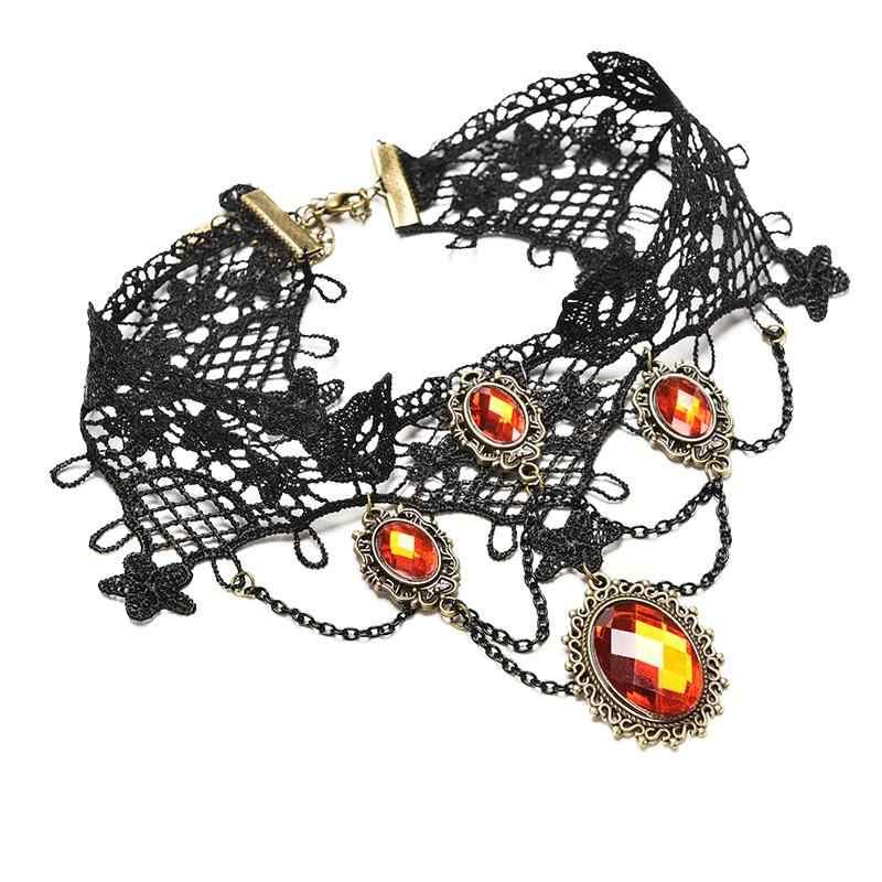 Mode 2018 Cocktail soirée robe bijoux victorien gothique Halloween rouge strass charmes Vampire Maxi collier Choker
