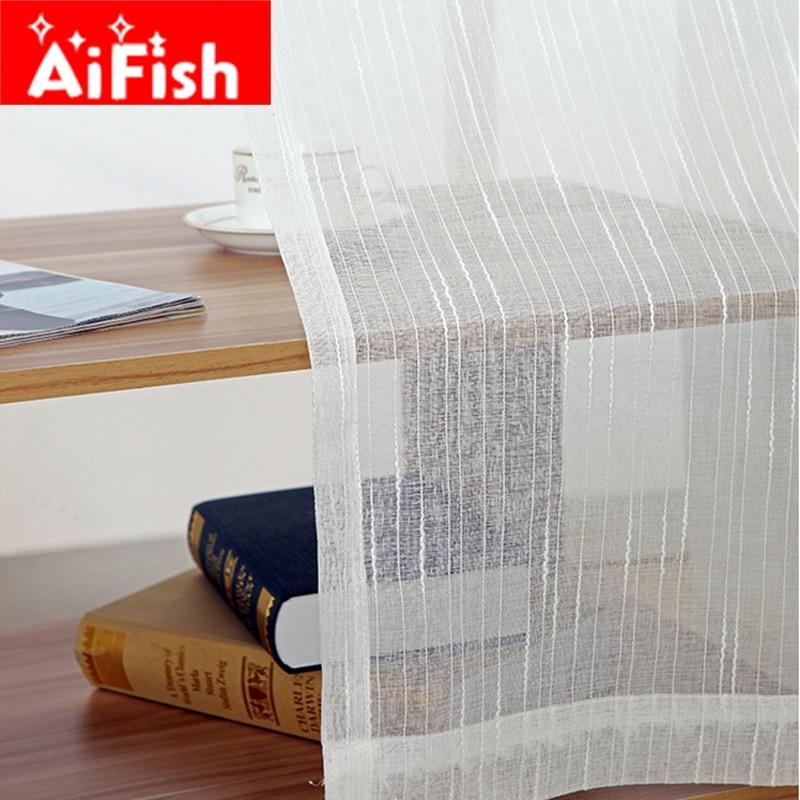 White All Match Linen Stripe Windows Screens Sheer Panels