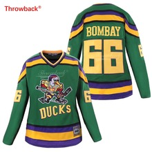 цена на Throwback Jersey Women's Duck Jersey Ice Hockey 66 Bombay Jerseys Colour White Green Black Size S-XXXL Free Shipping Wholesale