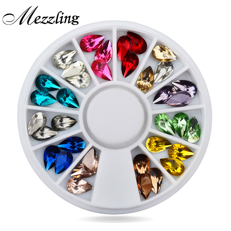 Hot Drop Water Nail Art Dekoration Rhinestones 5X8mm 3d Glitter Charm Nail Gem Stones Wheel DIY Nail Smycken Tillbehör