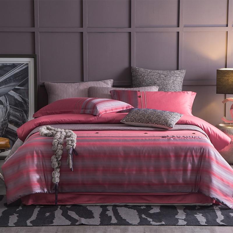 Luxury Euro satin Bedding Sets cotton 4pcs lace duvet cover queen king size 80s cotton bed