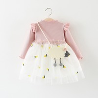 knitted dress baby infant newborn toddler kids cute clothes lace casual cotton long sleeve frock pineapples 9 12 18 24 months