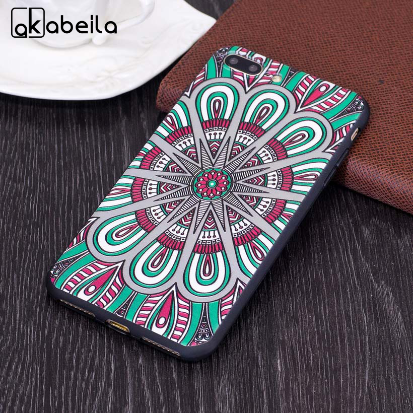 AKABEILA Case For iPhone 7 Plus Cases Apple iphone7Plus Pro Covers Fashion Relief TPU Retro Soft TPU Cover Housing