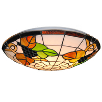 Tiffany Vintage Grape Pattern Lamp 3 Lights European Style Stained Glass Flush Mount Ceiling Lighting Fixture