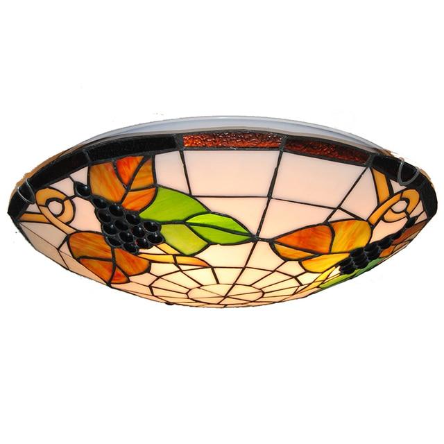 Tiffany Vintage Grape Pattern Lamp 3 Lights European Style Stained Gl Flush Mount Ceiling Lighting