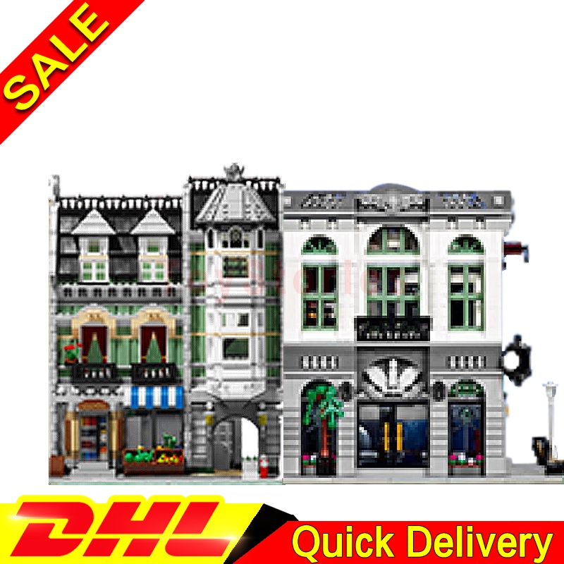 LEPIN 15001 Brick Bank + Lepin 15008 Green Grocer Model Building Street Sight Kits Blocks Bricks legoings Toys Clone 10251 10185 lepin 15008 2462pcs city street green grocer model building kit set blocks bricks toy gift legoings toys clone 10185