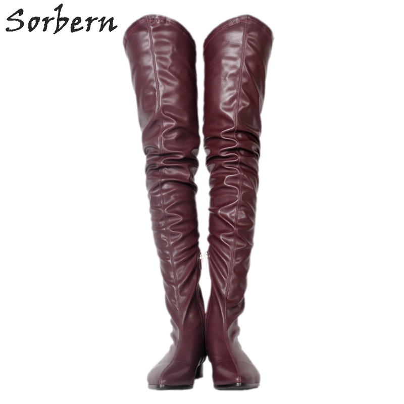 Europeos Femmes Taille Plat Genou Bout De Bottes Zapatos Mujer Talons 10 blanc Vin vin Color Chaussures Sorbern Sur Le Noir Rond Chaussons Pu Rouge custom rouge YwCaXx6AAq