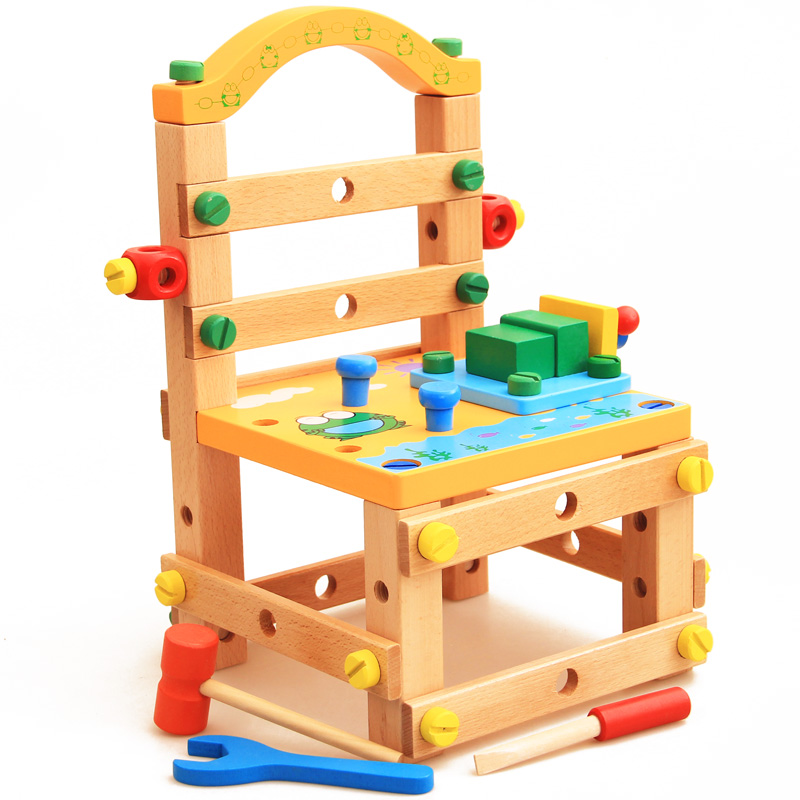 toy Luban assembling and disassembling chair nut combination assembling toy tool chair children educational toy boy new arrival nut assembly tool box 68pcs baby wooden toys child educational garden tool toys nut combination chirstmas gift
