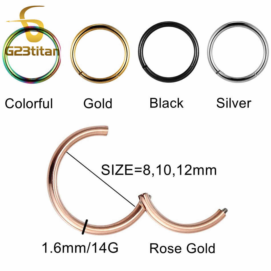 G23titan 14G 1.6mm Openable Segment Hinged Rings for Septum Nose Ear Nipple Lip Piercing Common Body Jewelry